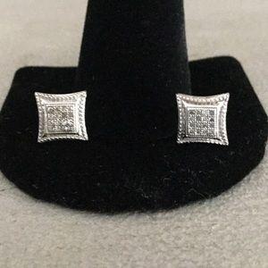 Large 925 sterling / diamond earrings